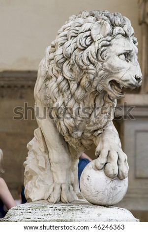Lion Statue in Florence,Italy - stock photo