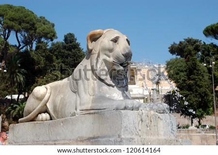 Lion Statue, Piazza del Popolo - stock photo