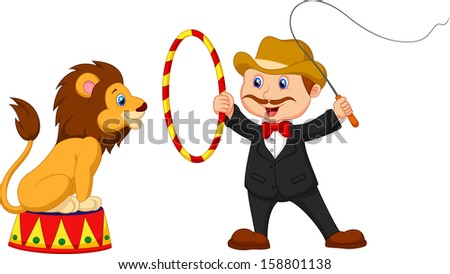 Lion Tamer with lion - stock photo
