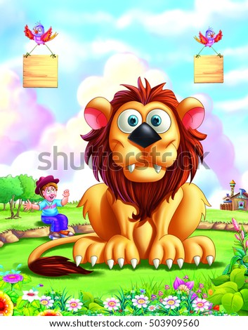 Lion with boy