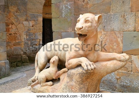 Lioness and cub statue decorating the old Fontfroide Abbey, Languedoc-Roussillon, France