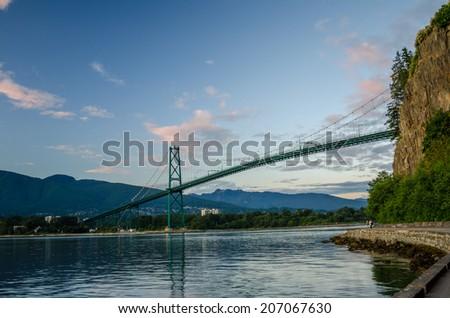 Lions Gate Bridge at Dusk - stock photo