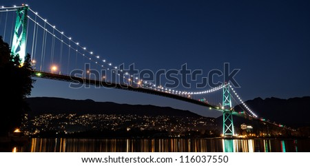 Lions Gate Bridge in Vancouver, British Columbia - stock photo