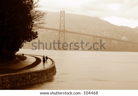 Lions Gate Bridge Sepia - - stock photo