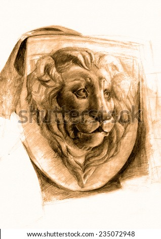 Lions Head.Classic pencil drawing on paper - plaster figure. Relief with fabric. Old picture.Antiquity.Textured old paper.Sepia.Hands drawing.