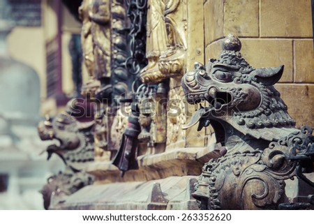Lions, symbols of power and protection, in Bhaktapur Temple ,the Kathmandu Valley, Nepal - stock photo