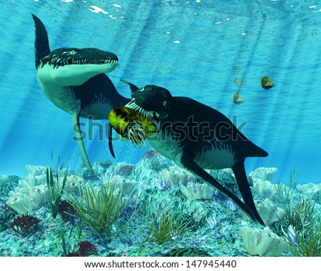 Liopleurodon - Liopleurodon was a large carnivorous marine reptile in the Jurassic epoch. Here one is eating an Ammonite. - stock photo