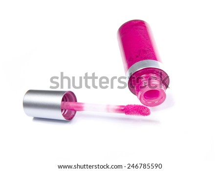Lip gloss isolated on a white background - stock photo