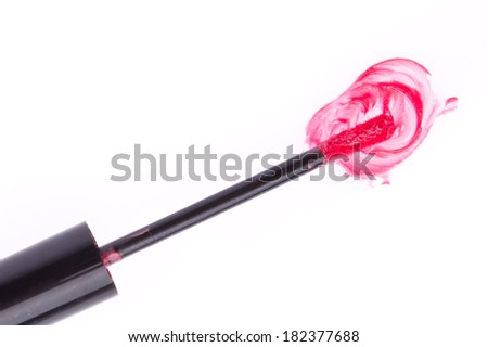 lip gloss isolated on white background - stock photo