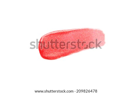 lip gloss samples isolated on white - stock photo