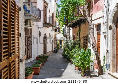 Lipari old town narrow streets. Italy touristic places.