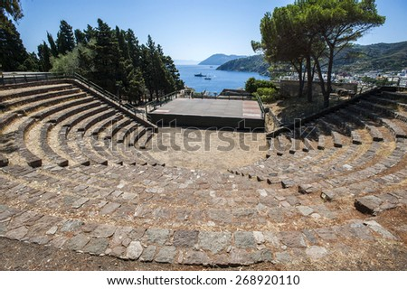 Lipari open theater, Lipari Islands, Sicily, south Italy