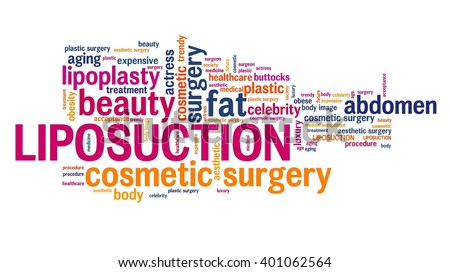 Liposuction - lipoplasty cosmetic surgery. Word cloud concept. - stock photo