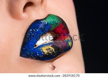 Lips multicolored - stock photo
