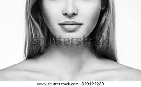 Lips nose neck Woman face young beautiful healthy skin portrait black and white - stock photo