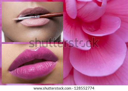 Lips on Pink Flower Background - stock photo