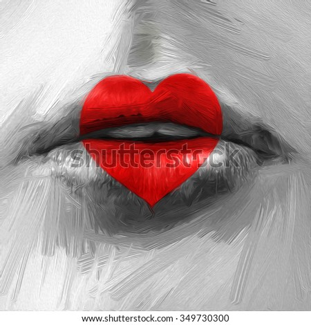 Lips with heart.  Illustration in oil painting style - stock photo