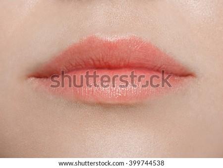 Lips woman close up - stock photo