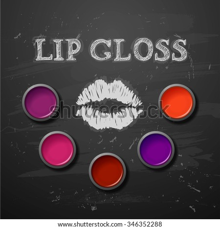 Lipstick, lip gloss. decorative cosmetics make up - stock photo