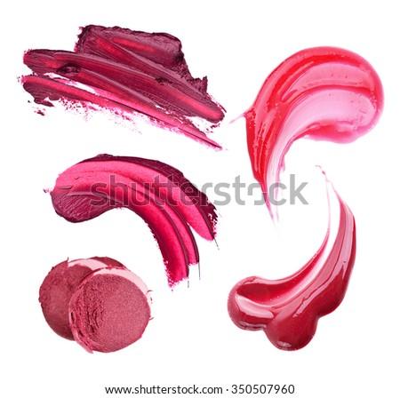 Lipstick smears  isolated on white background - stock photo