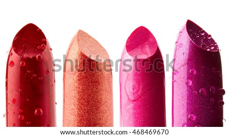Lipsticks isolated on white background. Set