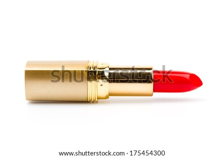 lipsticks isolated white background - stock photo