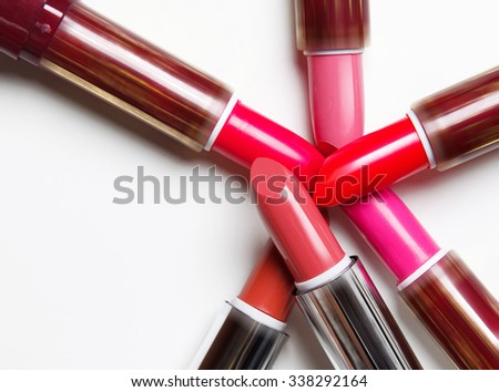 Lipsticks on white background  - stock photo