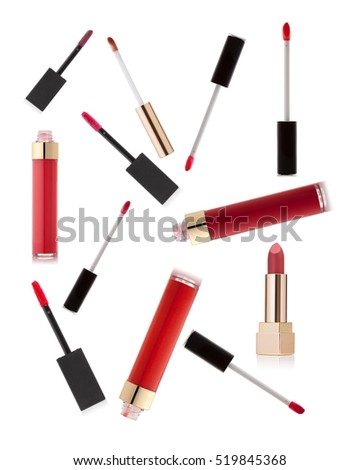 Lipsticks variation on white background. Fashionable colors of the season