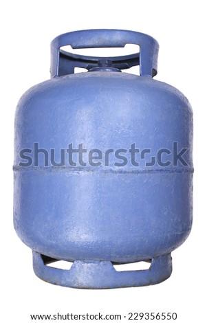 Liquefied petroleum gas (LPG) - Blue propane/butane gas tank - stock photo