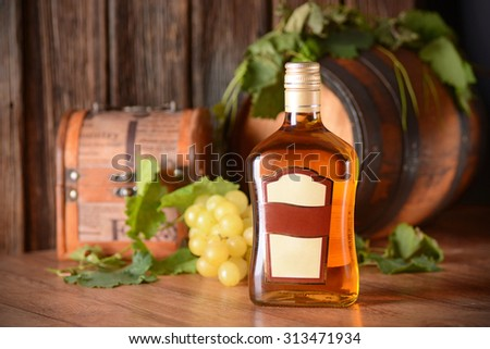 liqueur in the glass bottle - stock photo