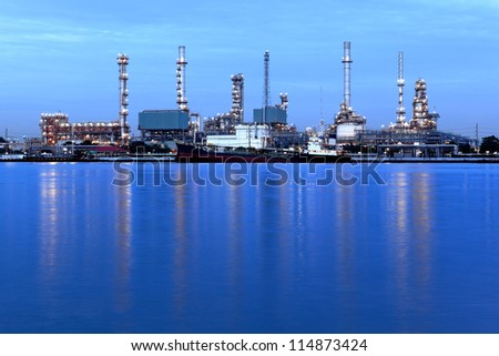 liquid and natural petroleum gas refinery plant area at twilight, Bangkok, Thailand.