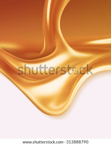 liquid caramel on white background - stock photo