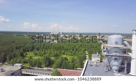 Liquid Container Near Warehouses Large Steel Stock Photo 1046238889