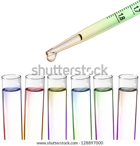 Liquid drop from laboratory glass Pipette - stock photo
