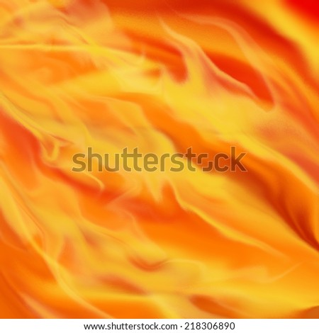 liquid fire and fiery flames background illustration in dark hot red, orange, and yellow shades of color with smeary texture, burning fire background - stock photo