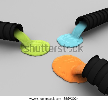 Liquid Flow from Tubes - stock photo