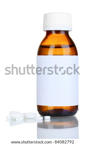 Liquid medicine in glass bottle and pills isolated on white - stock photo