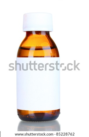 Liquid medicine in glass bottle isolated on white - stock photo