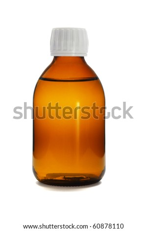 Liquid medicine in glass bottle on white background