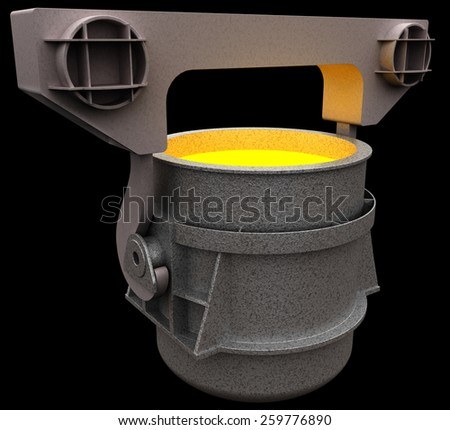 Liquid metal in the ladle, 3d render isolated on black - stock photo