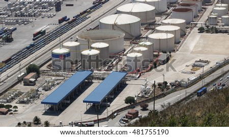Liquid natural gas storage tanks near a port facility in the city of Barcelona, Spain, July 2016
