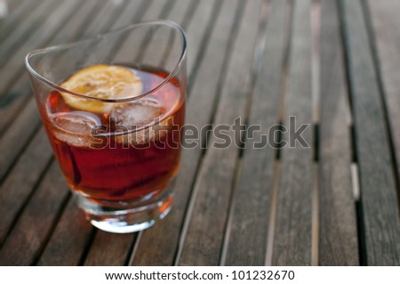 liquid red alcohol cocktail