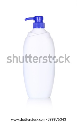 Liquid soap in plastic bottle isolated on white