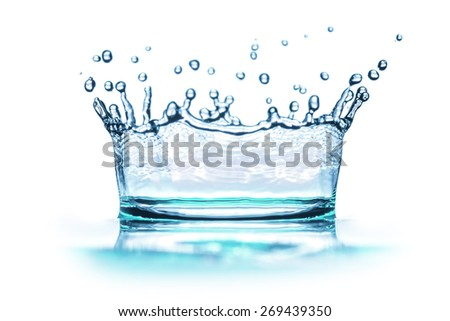 liquid water isolated on white - stock photo
