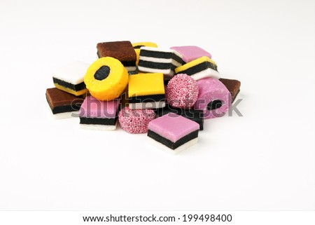 Liquorice allsorts fondant and licorice sweets or candy studio isolated