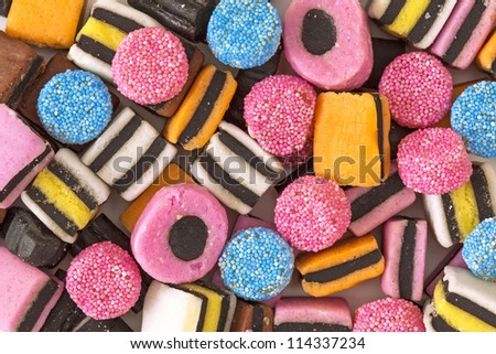Liquorice colorful sweets close up - stock photo