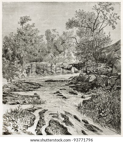 Lisara river old view, Abyssinia. Created by Ciceri after Lejean, published on Le Tour du Monde, Paris, 1867