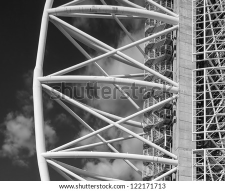 LISBOA, PORTUGAL - FEBRUARY 17 : Closeup view of the Torre Vasco De Gama height of 145 m, standing in the Park of Nations. The photo shows the moment of capital reconstruction on February 17, 2012