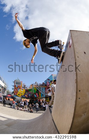 LISBOA, PORTUGAL - JUNE 4, 2016: Bruno Senra during the Element Ramp Tour Farewell.