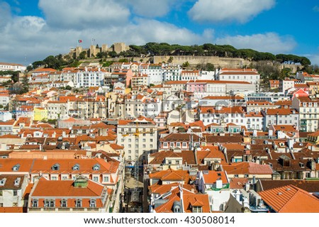 Lisbon aerial cityscape skyline with Sao Jorge Castle view, Portugal